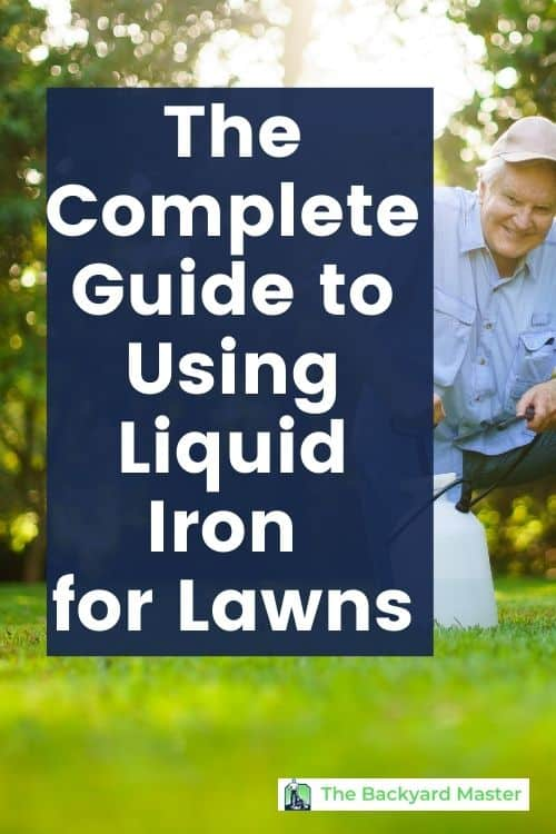 A man applying liquid iron for lawns to his grass.
