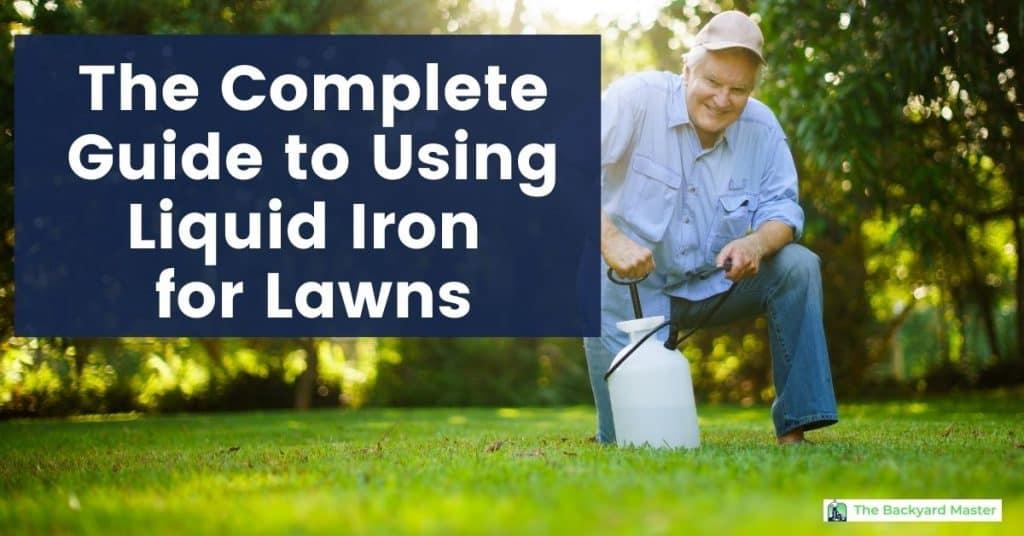 A man applying liquid iron to his lawn