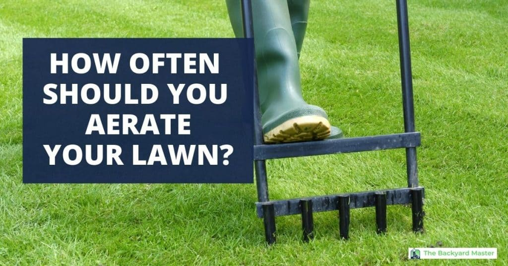 How often should you aerate your lawn. Picture of manual lawn tool being used to aerate a yard.