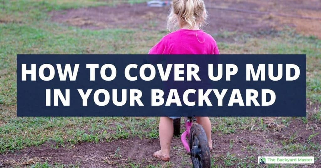 How to cover up mud in backyard. Child riding bike in muddy backyard.