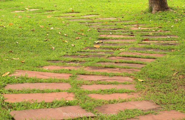 Brick pathway over muddy spot in yard.