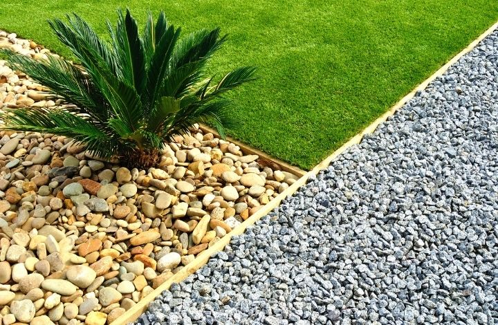 Gravel used in landscape design to cover muddy spots in yard.