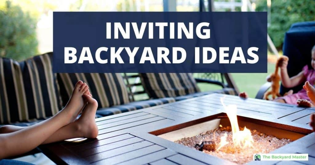 INVITING BACKYARD IDEAS. Family sitting around fire pit on the patio.