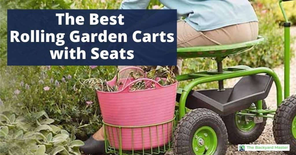 Best Rolling Garden Carts with Seats | Woman sitting on garden scooter with seat weeding a flower bed