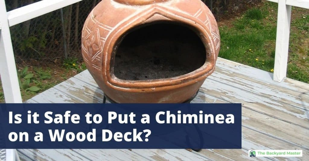 Can you put a chiminea on a wood deck? | Terra cotta chiminea on a wooden patio.
