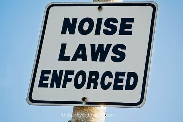 Noise Laws Enforced Sign | Is it illegal to mow at night?